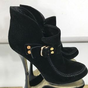 Tory Burch Black Suede Gold Buckle Moccasin Bootie